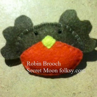 Robin Felt Key Brooch