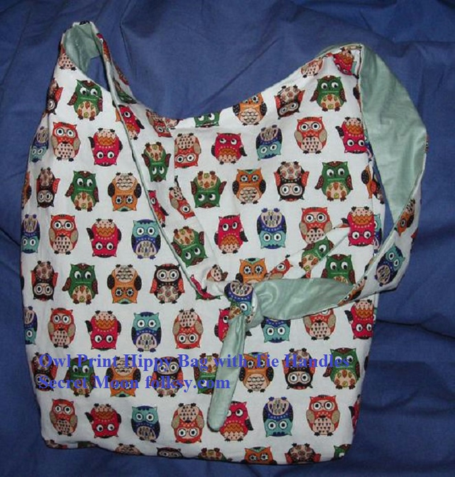 Owl Print Hippy Bag with tie handles