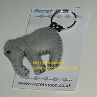 Elephant Grey Felt Key Ring-Bag Charm
