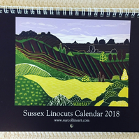 Sussex Linocuts Calendar 2018 featuring this years linoprint work by Sue Collins