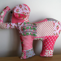Padded Patchwork Pink Elephant