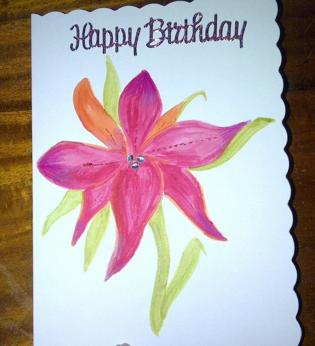 Hand Painted Birthday Card Folksy