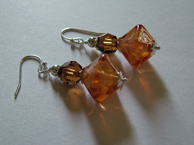 LAMPWORK AND SWAROVSKI EARRINGS