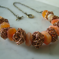 ORANGE NUGGET NECKLACE - WIRE BEADS NECKLACE - STATEMENT NECKLACE  FREE SHIPPING