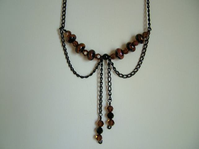 DOWNTON ABBEY NECKLACE - LAMPWORK NECKLACE - FREE SHIPPING WORLDWIDE