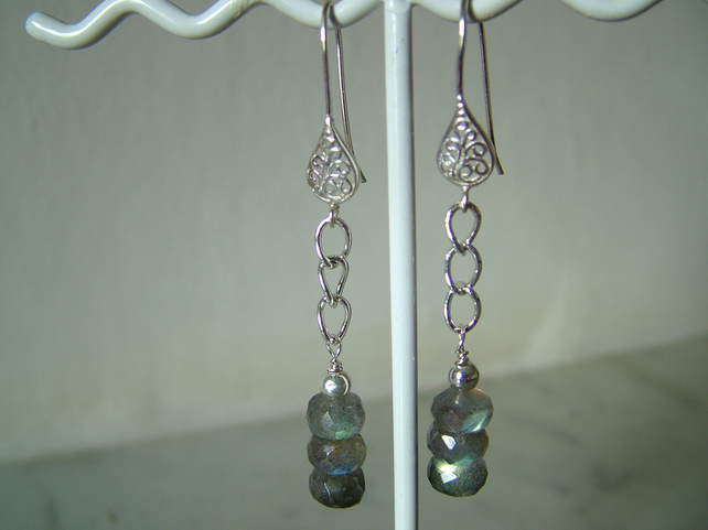 LABRADORITE AND SILVER EARRINGS - - FILIGREE -  FREE SHIPPING WORLDWIDE
