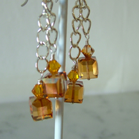 SALE!  TOPAZ SWAROVSKI EARRINGS - - FREE SHIPPING