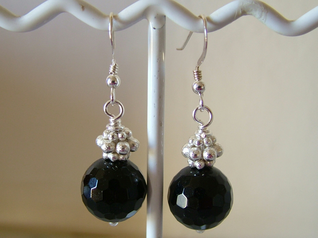 BLACK AGATE AND SILVER DANGLE EARRINGS- - FREE SHIPPING
