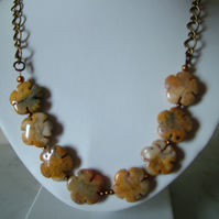 CRAZY LACE AGATE FLOWER NECKLACE - AGATE NECKLACE - FREE SHIPPING WORLDWIDE