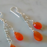 SALE!    CARNELIAN AND SILVER DANGLE EARRINGS - - FREE SHIPPING