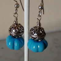 MANCUNIAN AND STERLING SILVER DANGLING  EARRINGS - - FREE SHIPPING