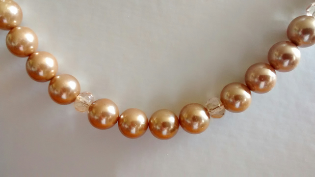 GOLD PEARL  AND CHAMPAGNE NECKLACE - BRIDE - WEDDING - FREE SHIPPING WORLDWIDE