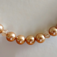 GOLD PEARL  AND CHAMPAGNE NECKLACE - BRIDE - WEDDING - FREE SHIPPING