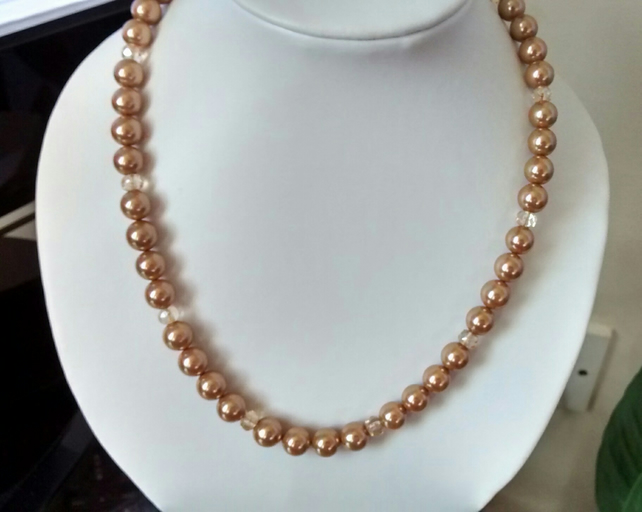 GOLD PEARL  AND CHAMPAGNE NECKLACE - - FREE SHIPPING WORLDWIDE
