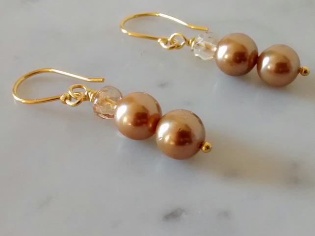 GOLD PEARL  AND CHAMPAGNE EARRINGS - - FREE SHIPPING WORLDWIDE