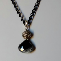 DENDRITE OPAL PENDANT - BLACK NECKLACE  - FREE SHIPPING WORLWIDE