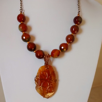 ORANGE AGATE AND WIRE WRAPPED NECKLACE.. STATEMENT NECKLACE -  FREE SHIPPING