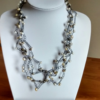 CROCHET CHAMPAGNE AND FRESHWATER  PEARL NECKLACE -  - STATEMENT NECKLACE