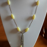 OLIVE JADE AND BRONZE  NECKLACE - JADE NECKLACE - TASSELE  - - FREE SHIPPING