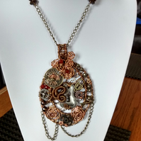 STEAMPUNK NECKLACE- WIRE WRAPPED - - FREE UK POSTAGE