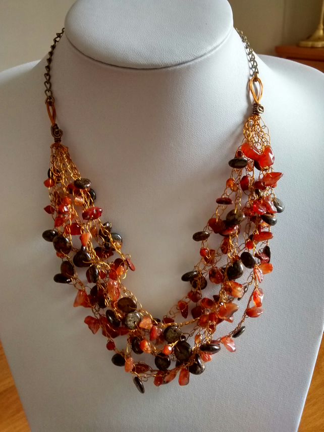 CROCHET CARNELIAN BRONZE NECKLACE - CROCHET NECKLACE -STATEMENT -  FREE SHIPPING