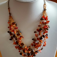 CROCHET CARNELIAN BRONZE NECKLACE  -STATEMENT -    FREE UK POSTAGE