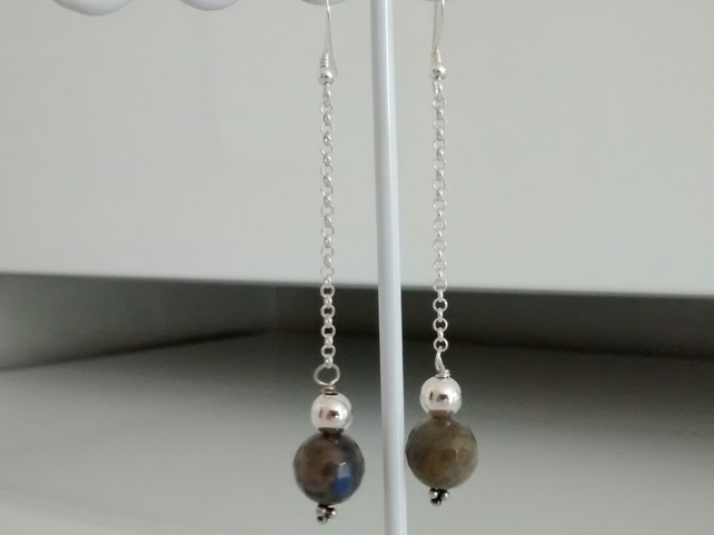 LABRADORITE EARRINGS  - LABRADORITE AND SILVER  EARRINGS FREE SHIPPING WORLDWIDE