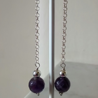 AMETHYST EARRINGS - AMETHYST AND SILVER EARRINGS - DANGLE EARRINGS