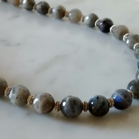 LABRADORITE AND SILVER NECKLACE-  LABRADORITE NECKLACE - FREE SHIPPING WORLDWIDE