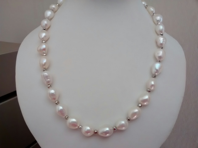CULTURED NUGGET PEARL NECKLACE - PEARL NECKLACE - STATEMENT NECKLACE  FREE SHIPP