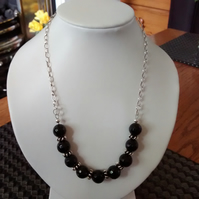 BLACK AGATE AND STERLING  SILVER NECKLACE- BLACK NECKLACE - FREE SHIPPING