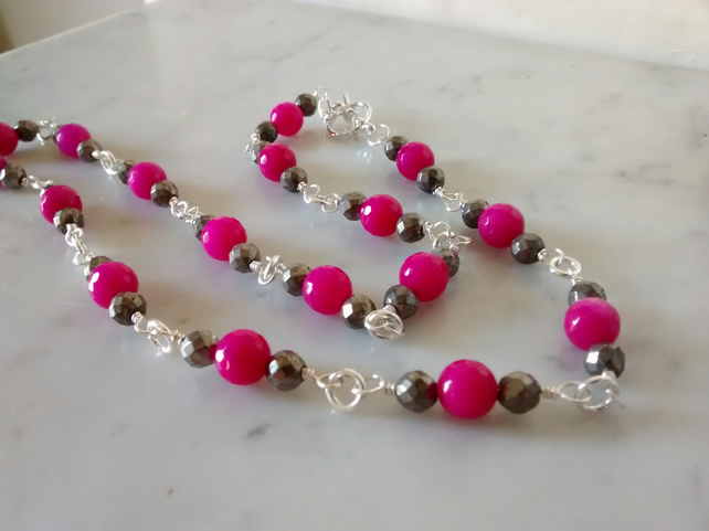 HOT PINK NECKLACE - PINK NECKLACE - PYRITE - ROSARY -  FREE UK POSTAGE
