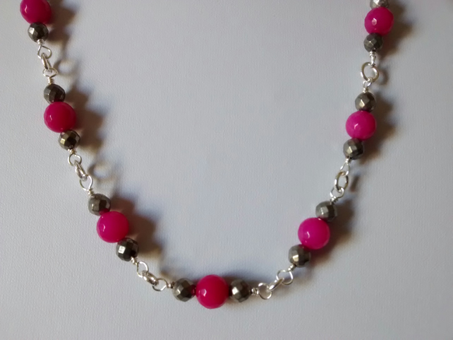 HOT PINK NECKLACE - PINK NECKLACE - PYRITE - ROSARY -  FREE SHIPPING WORLDWIDE