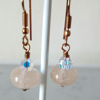PEACH AND BRONZE LAMPWORK DANGLE EARRINGS - - FREE SHIPPING WORLDWIDE