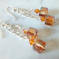 SALE!  TOPAZ SWAROVSKI EARRINGS - - FREE UK SHIPPING