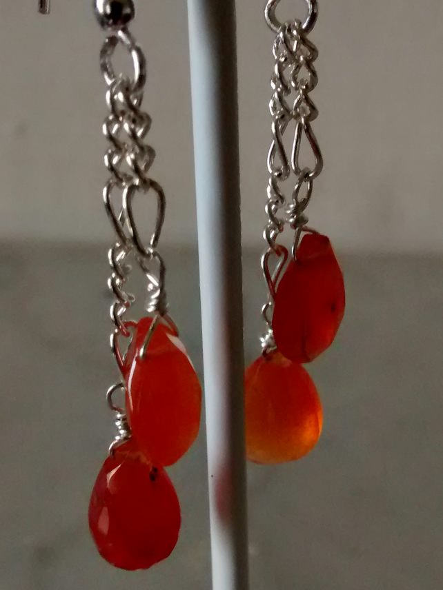 SALE!    CARNELIAN AND SILVER DANGLE EARRINGS - - FREE SHIPPING WORLDWIDE