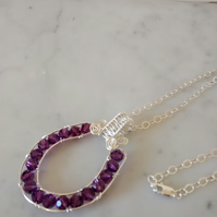 SWAROVSKI CHANNEL SET PENDANT - AMYTHEST PENDANT  - FREE SHIPPING WORLDWIDE