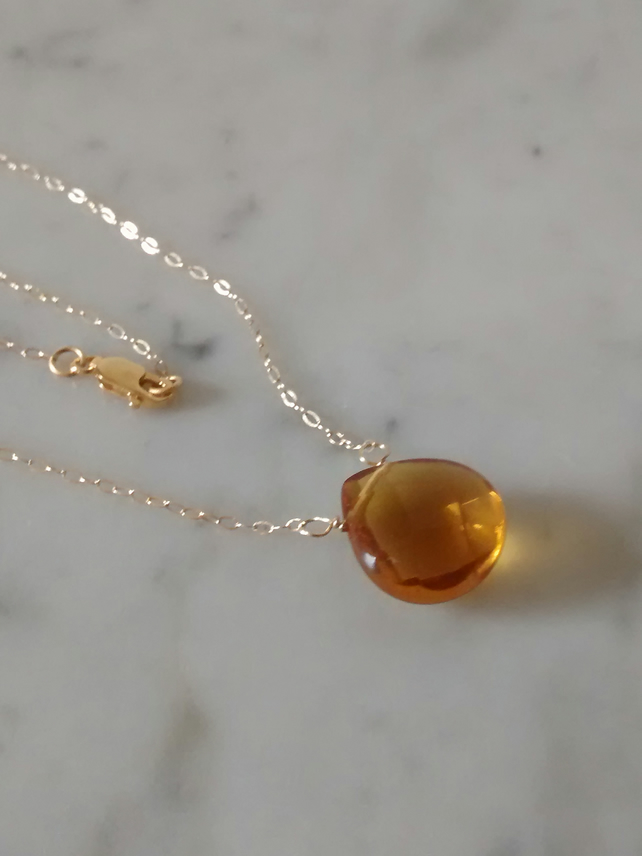 BRANDY TEARDROP NECKLACE WITH 14K GOLD FILLED CHAIN - FREE POSTING WORLDWIDE