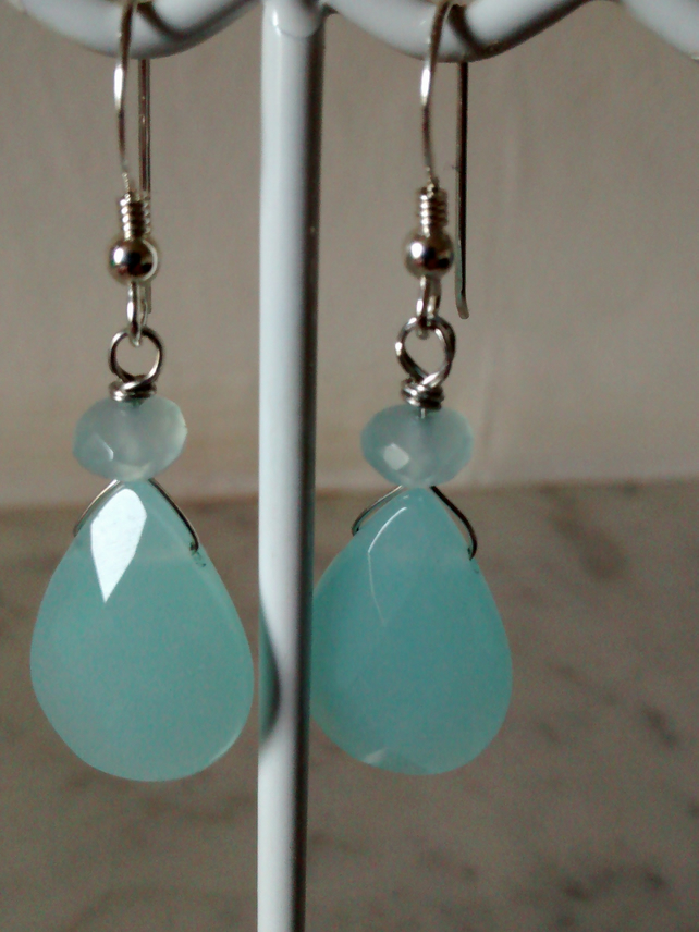 SEA BLUE TEAR DROP  EARRINGS - BLUE EARRINGS - DANGLE EARRINGS - FREE SHIPPING