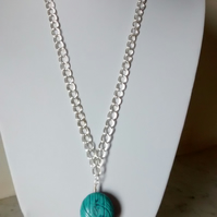 MAGNESITE CARVED PEBBLE NECKLACE - BLUE MAGNESITE NECKLACE - FREE SHIPPING