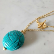 BLUE MAGNESITE PEBBLE NECKLACE - FREE SHIPPING