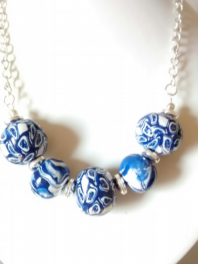 BLUE AND WHITE POLYMER CLAY NECKLACE - POLYMER CLAY -  FREE SHIPPING WORLD WIDE