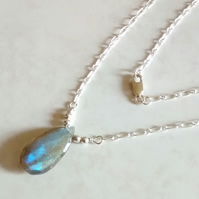 LABRADORITE DROP NECKLACE - -  PEAR NECKLACE - CHRISTMAS GIFT - FREE UK SHIPPING