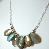 LABRADORITE AND STERLING SILVER NECKLACE - - FREE SHIPPING WORLDWIDE