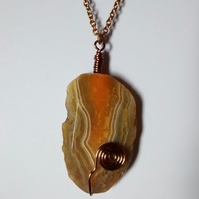 SALE ! ORGANIC ORANGE CRACKLE SLAB AND BRONZE NECKLACE - - FREE SHIPPING