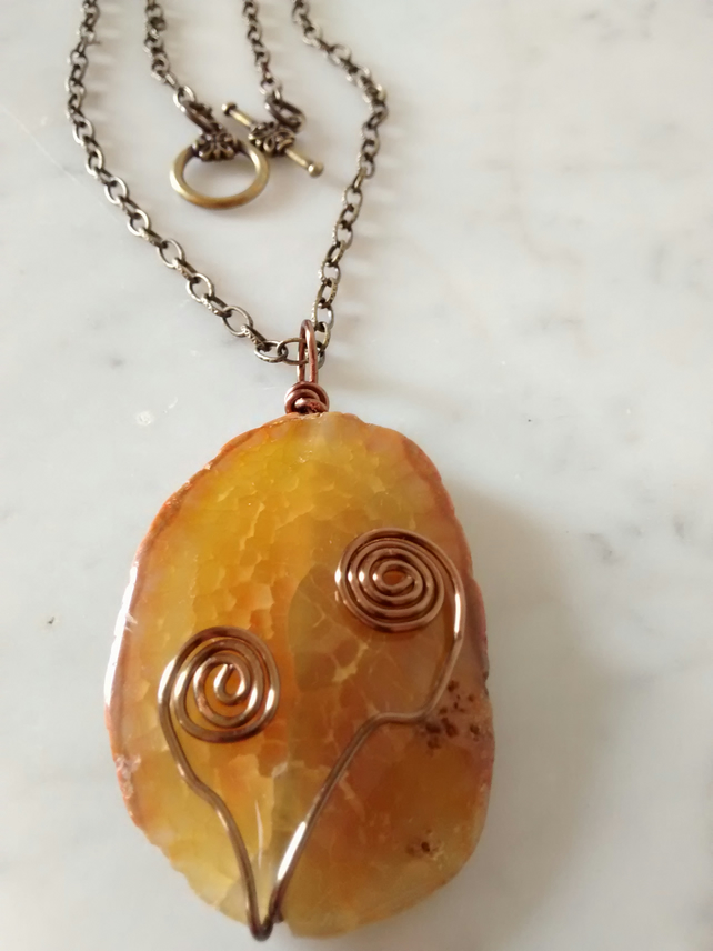 SALE!    ORGANIC ORANGE CRACKLE SLAB AND BRONZE NECKLACE - - FREE SHIPPING