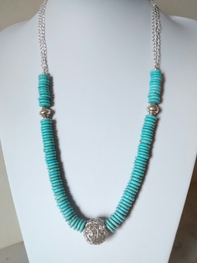 SALE!   BLUE MAGNESITE AND SILVER NECKLACE - - FREE SHIPPING WORLDWIDE