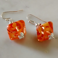 ORANGE LAMPWORK EARRINGS - FREE SHIPPING WORLDWIDE