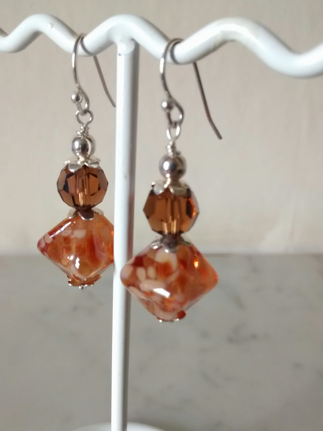 LAMPWORK AND SWAROVSKI EARRINGS - FREE SHIPPING