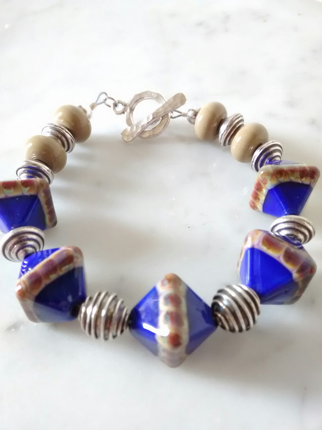 SALE - LAZULI DIAMOND GLASS LAMPWORK BRACELET - - FREE SHIPPING WORLD WIDE
